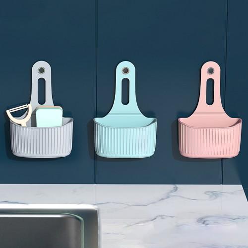 壁掛式置物籃 無痕吸盤收納袋 水槽瀝水收納袋