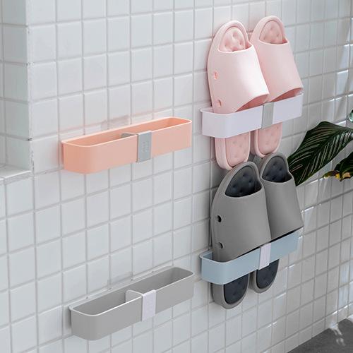 壁掛式收納鞋架 創意門後掛式鞋架 浴室必備拖鞋瀝水收納架