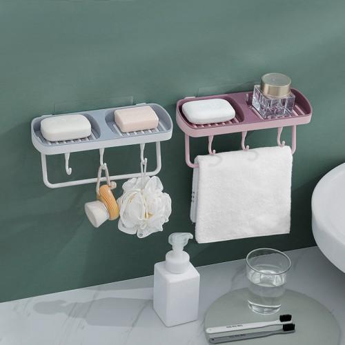 浴室必備雙格置物盒 壁掛式雙格肥皂盒 多功能置物架 創意多功能瀝水架